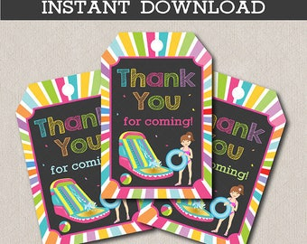 Water slide girl Birthday gift tags, waterslide Tags, Water slide girls party, Waterslide birthday, printable, INSTANT DOWNLOAD