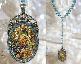 Rosary of Our Lady of Perpetual Help Handmade Catholic Christian Religious Jewelry Medal Pendant Our Lady of Perpetual Succour Theotokos