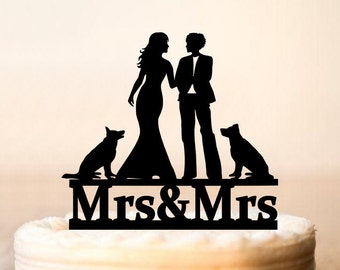 Lesbian cake topper with two dogs,Lesbian with dogs,Lesbian wedding cake topper,mrs and mrs cake topper,lesbian dogs,dogs cake topper 0178