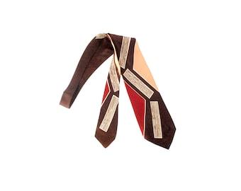 Vintage 40s Tie - 40s Necktie - 40s Cravat - 1940s Necktie - Brown Peach Red - 40s Wide Tie - Novelty Tie - Trojan - 40s Abstract Tie Swing