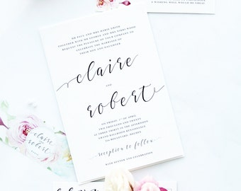 Rosalinda Wedding Invitation Sets, Romantic and Elegant Invitations, Printable Files or Printed Cards, Custom Colors and Sizes by Paradise