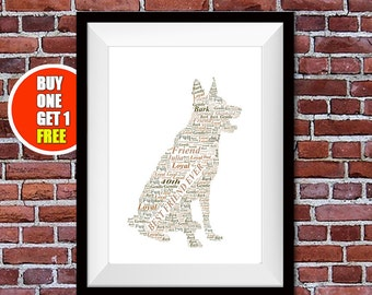 German shepherd artwork,  german shepherd present, german shepherd , german shepherd  print, alsatian word art
