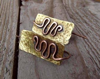 Rustic earrings, Brass and copper earrings, tribal brass earrings, brass copper earrings, brass and copper tribal earrings in rustic style.