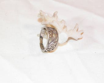 Sterling Silver Scroll Style Ring, 925 Vintage Scroll Ring, Genuine Sterling Silver Ring, 925 Designer Ring, Real Silver Ring, Size 7 Ring