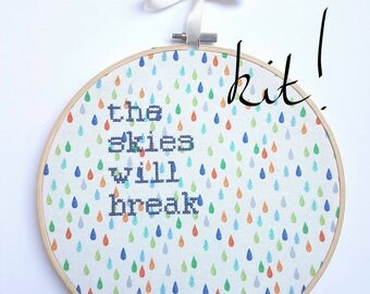 "Corinne Bailey Rae Cross Stitch KIT ""The Skies Will Break"" Embroidery 8"" hanging mental health charity awareness gift, rain raindrops tears"