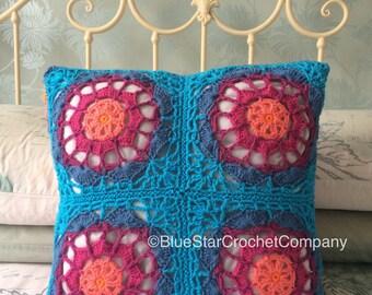 Cushion cover/ Crochet Cushion Cover/ Pillowcase/ Handmade Cushion Cover/ Colourful Cushion Cover/ Crochet Lacy Cushion Cover