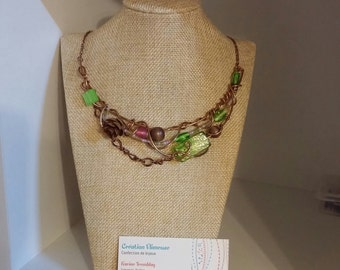 Summer passion necklace, bronze wire, pinecone