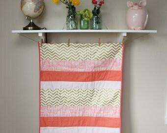 Baby Quilt, Baby Girl Bedding, Modern Baby Quilt, Handmade Quilt