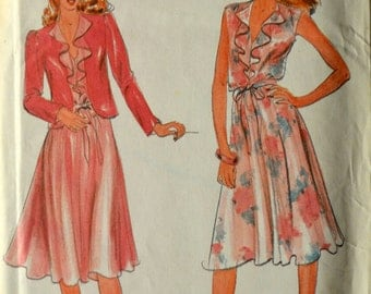 Uncut 1980s Butterick Vintage Sewing Pattern 3573, Size 14-16-18; Misses' Jacket and Dress