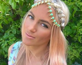 Mint Green Studded Diamond Skull Sea Shell Mermaid Crown Hair Head Band