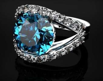 White Gold Blue Topaz Ring White Gold Engagement Ring Blue Gemstone Engagement Ring Gold Blue Topaz Ring December Birthstone