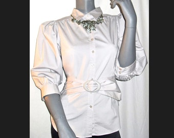 Kenar Pale Gray Button 3/4 Sleeves Career Belted Cotton Blend Blouse/Top L