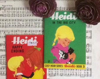 2 x Mini vintage retro childrens books, Heidi In The City & Heidi Happy Endings. Full of colour pages.