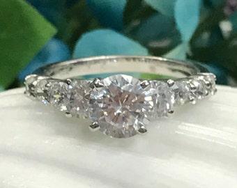 Round Engagement Anniversary Ring Diamond 2.00 ctw. 14K White Gold #4452