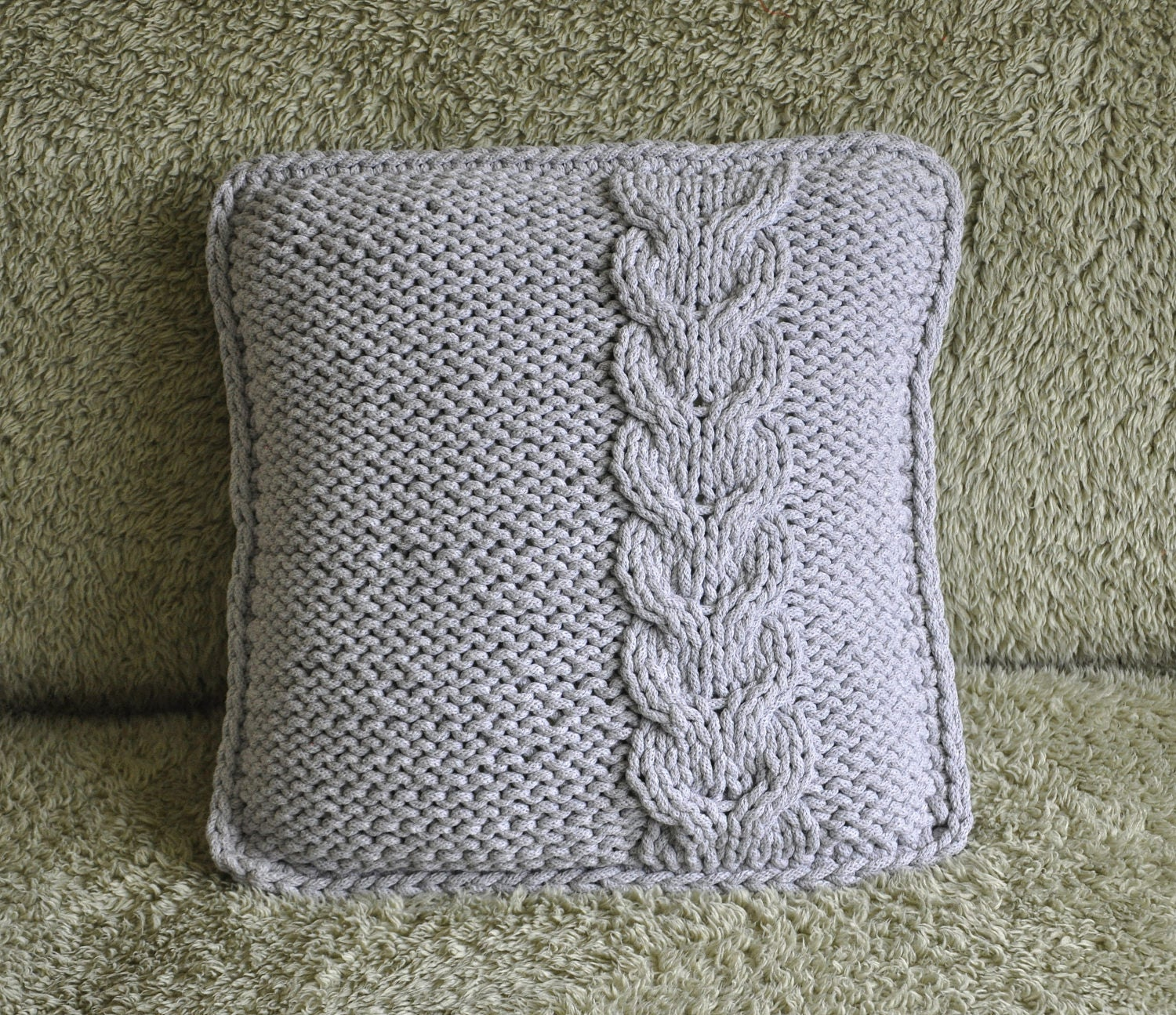 Light grey chunky cotton cushion cover knitted cushion cover light grey chunky cotton cushion cover knitted cushion cover cotton cord cushion knit decorative pillow cable knitted cushion london uk bankloansurffo Gallery