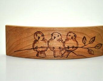 Bar three birds in cherry wood