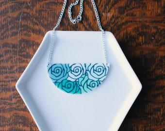 Shrink Plastic Blue Roses Flowers Color Scheme Statement Necklace