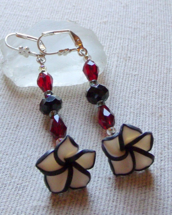 Art noveau white black flower earrings, polymer clay jewelry, light weight dangle earrings, nature inspired,  red teardrop crystals