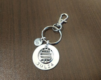Personalized volleyball keychain, volleyball gift, team gift, volleyball, hand stamped, name key chain, custom stamped, personalized