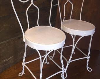 Child's Antique Iron Ice Cream Parlor Chair, Pair