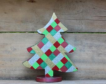 Tabletop tree, Wooden Tree, Christmas Tree, Wood Tree, Victorian Christmas, Plaid Christmas, Christmas Decor, Handmade Christmas, Red, Green