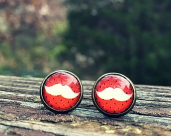 Orange mustache earrings -  12mm glass nickel-free earrings