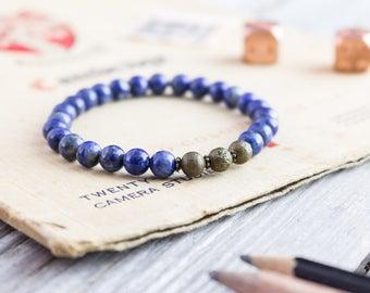 6mm - Blue lapis lazuli beaded stretchy bracelet with bronze beads, mens bracelet, womens bracelet, blue bead bracelet