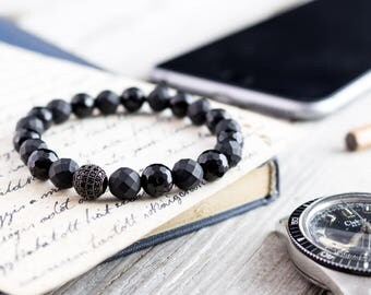 8mm - Black faceted onyx beaded stretchy bracelet with a black micro pave ball, made to order bracelet, mens bracelet, womens bracelet