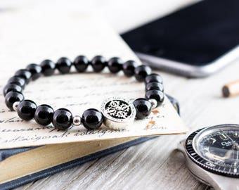 8mm - Black onyx beaded stretchy bracelet with cross and S925 silver beads, mens beaded bracelet, black mens bracelet, gemstone bracelet