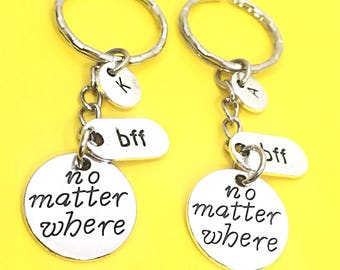 SET OF 2 Custom Distance Keychain Best Friend for 2, Nautical Keychain Gift, No Matter Where Keychain, Long Distance Jewelry, Distance Gift