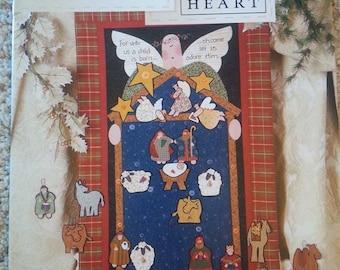 Glad Tidings Advent by Nancy Halvorsen -  Art to Heart - Seasonal Primitive Quilt Applique Pattern book - Stitchery - Christmas