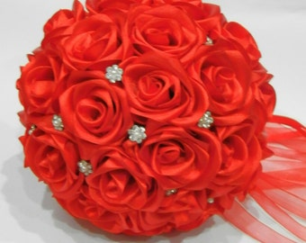 Wedding Brooch Bouquet Red Roses, Bridal Bouquet, Decorative Bouquet, Artificial Bouquet, Custom Bouquet, Satiny Bouquet