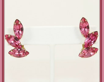 Vintage Pink Rhinestone Earrings,Vintage Rhinestone Earrings,Vintage Pink Marquise Rhinestone Earrings,Vintage Rhinestone Jewelry,Vintage