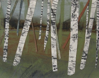 Forest, woodlands, trees, birch trees, collage, pastel, charcoal, graphite, landscape, Yorkshire, Original Art Postcard 125, green, white