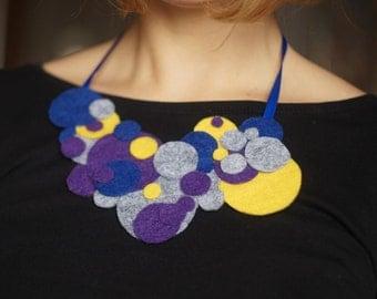 Multicolor Felt necklace Felt bib necklace textile necklace Statement necklace, Fashion, Original, Unique, Jewelry, Art jewelry felt jewelry