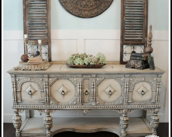 SOLD!!!!!!!      Antique Sideboard French Country Buffet Jacobean Credenza Shabby Chic Console Table