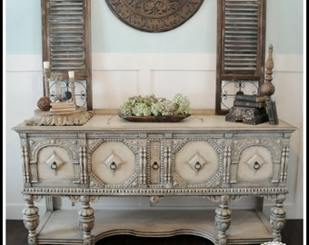 Marvelous Antique Sideboard French Country Buffet Jacobean Credenza Shabby