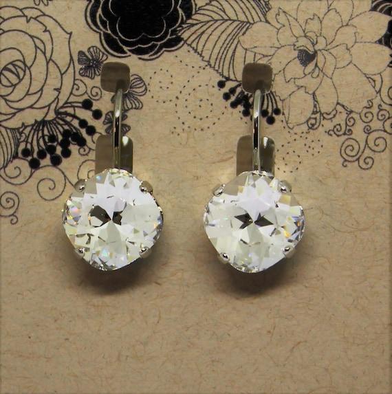 10mm Swarovski crystal lever back earrings