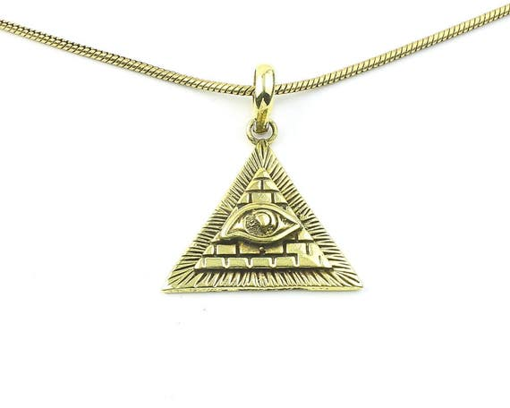 Illuminati Necklace, Brass Eye Pendant, Pyramid, Evil Eye, Festival Jewelry, Boho, Bohemian, Gypsy, Hippie, Spiritual