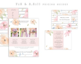 Modern watercolor Pricing Guide Set-Photography marketing price list set