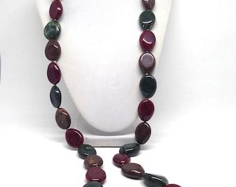 Vintage Estate Green Brown Stone Chunky Gorgeous Necklace