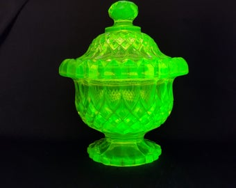 NEW LISTING Striking Victorian Uranium Citrine Green Glass Pedestal Lidded Jar by Edward Moore c. 1880's