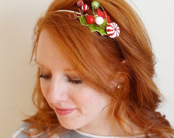 christmas hair accessories, peppermint headband, ugly Christmas sweater, Christmas headband adult, holiday hair, tacky ugly sweater party