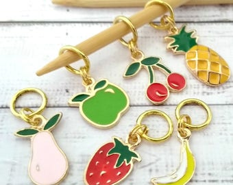 fruit stitchmarkers - food stitch markers - place holder notions - knitting accessories - knitting crochet notions