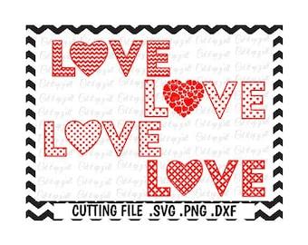 Love Heart Valentine Svg,4 designs, Chevron, Dots, Diamonds, Hearts, Cutting File For Cricut and Silhouette Cameo, Svg Download