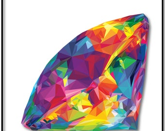 Diamond Print, Colorful and Vibrant Low-Poly Diamond, Wall Art, Diamond Poster, Diamond Art, Rainbow Diamond, Minimalist Poster