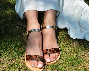 Leopard Print Sandals   Greek Leather Sandals   Animal Print Sandals   Leopard Sandals   Leopard Shoes    Gold Strappy Sandals