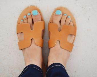 Ancient Greek Sandals, Leather Slide Sandals, Slip on Sandals, Greek Leather Sandals, Hermes Greek Sandals ''Hermione''