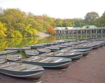 NYC Boathouse Print, Central Park, New York Photography, Large Wall Print, Autumn, New England, Row Boats, Neutral Tones - The Boathouse