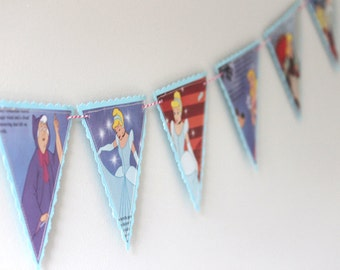Disney's Cinderella - Recycled Book Bunting - Nursery or Party Decoration